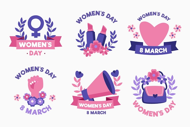 Hand drawn international women's day label set Free Vector