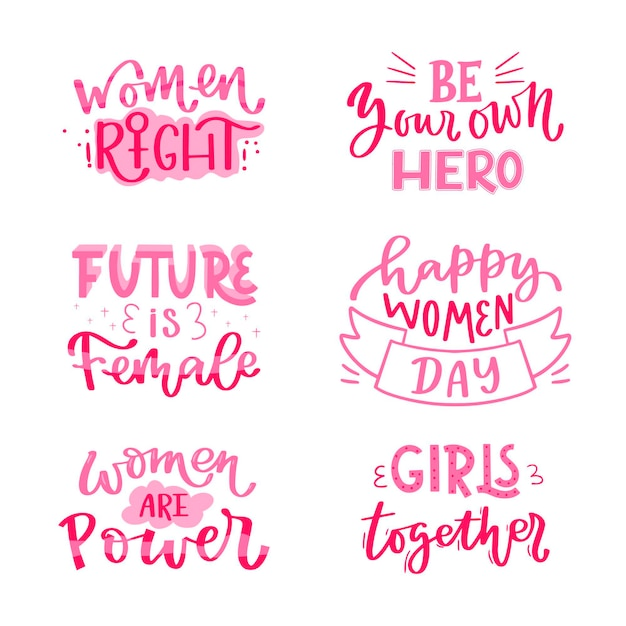 Hand-drawn international women's day lettering badge collection Premium Vector