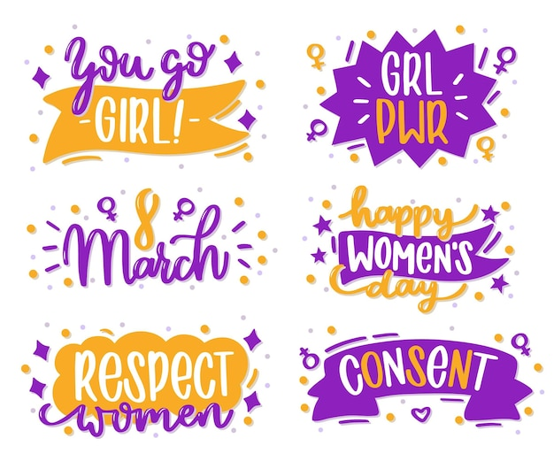 Hand drawn international women's day lettering badge Free Vector