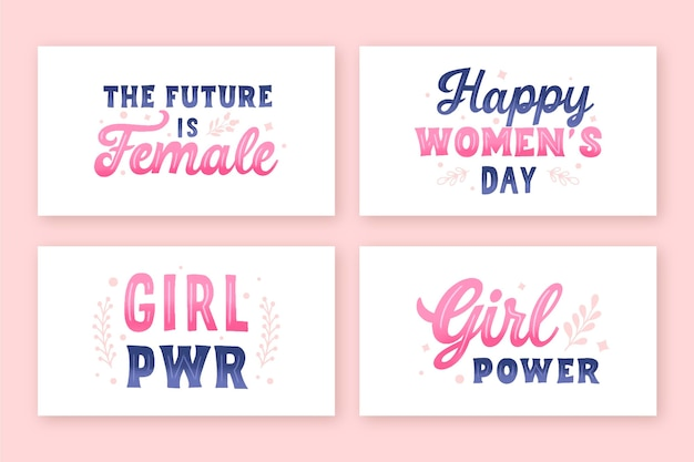 Hand-drawn international women's day lettering label collection Free Vector