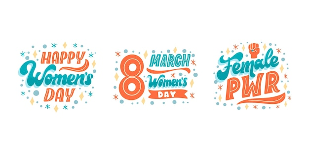 Hand drawn international women's day lettering label collection Free Vector