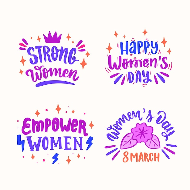 Hand drawn international women's day lettering label Free Vector