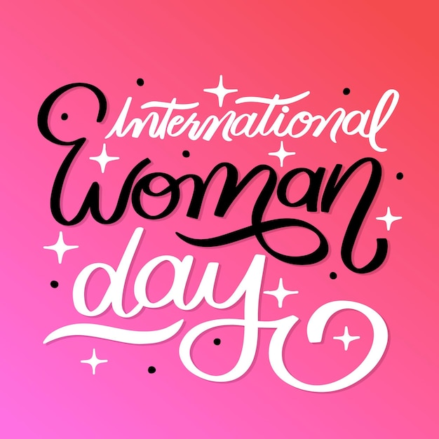 Hand drawn international women's day lettering Free Vector