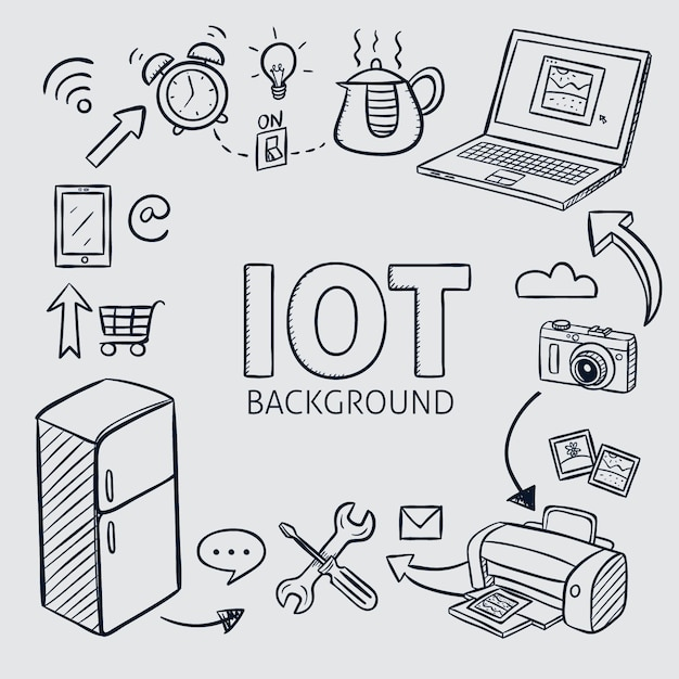 Hand drawn internet of things background Free Vector