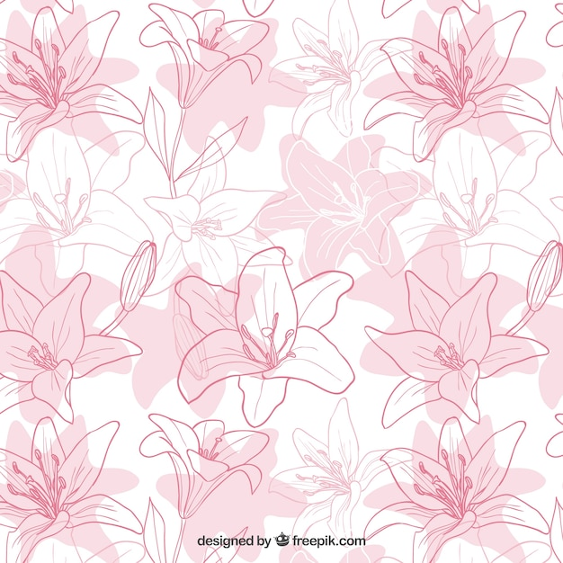 Hand drawn iris flowers pattern Free Vector