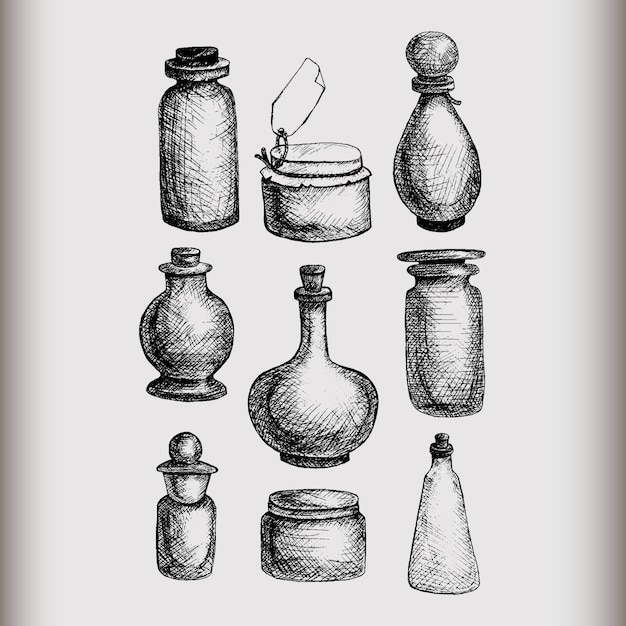 Hand drawn isolated vintage glass jars and bottles set. containers for jams, food, attar, otto, essential oil, oils, liquid, perfume. Premium Vector