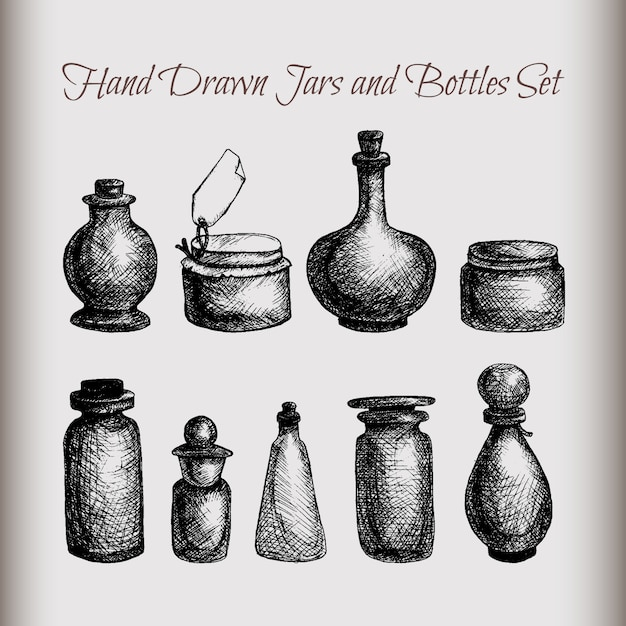 Hand drawn isolated vintage glass jars and bottles set Premium Vector