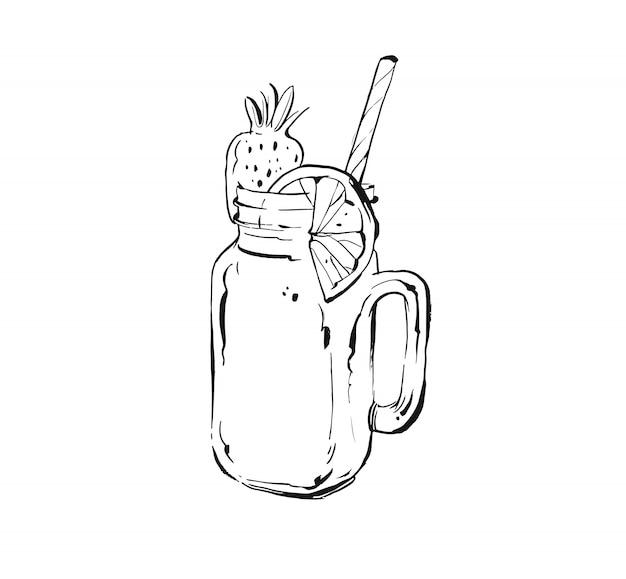 Ручной обращается istic кулинария чернил эскиз иллюстрации тропических фруктов лимонад коктейль коктейль в стеклянной банке каменщика на белом фоне. диета детокс Premium векторы