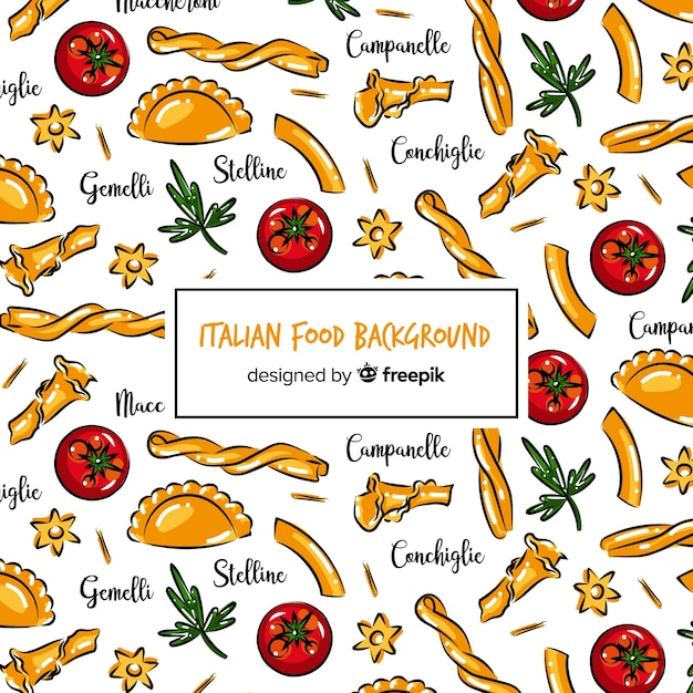 Hand drawn italian food background Free Vector