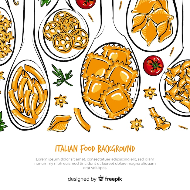 Hand drawn italian food background Free Vector