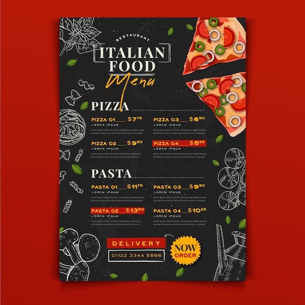 Ручной обращается шаблон меню итальянской кухни Бесплатные векторы