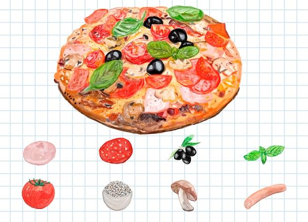 Hand drawn italian pizza watercolor style Free Vector