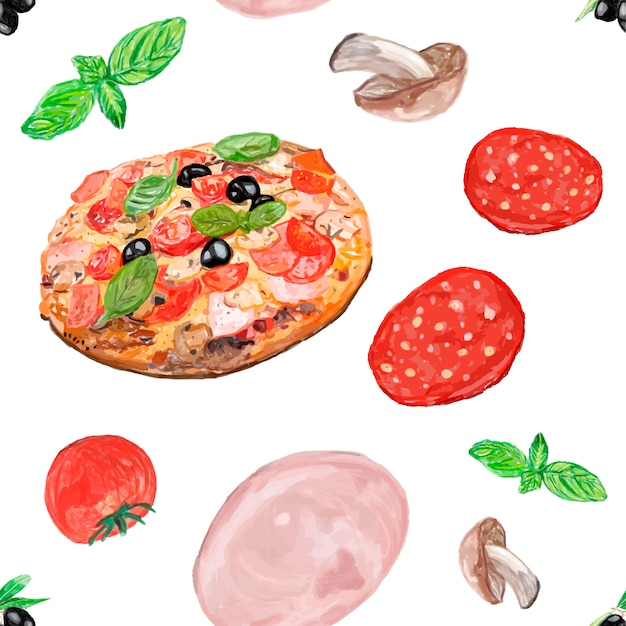 Hand drawn italian pizza watercolor style Free Vector