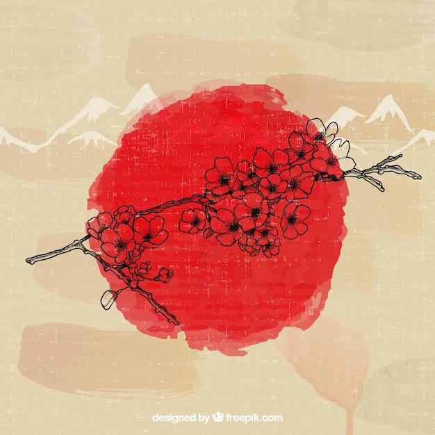 手描きの日本の桜 無料ベクター