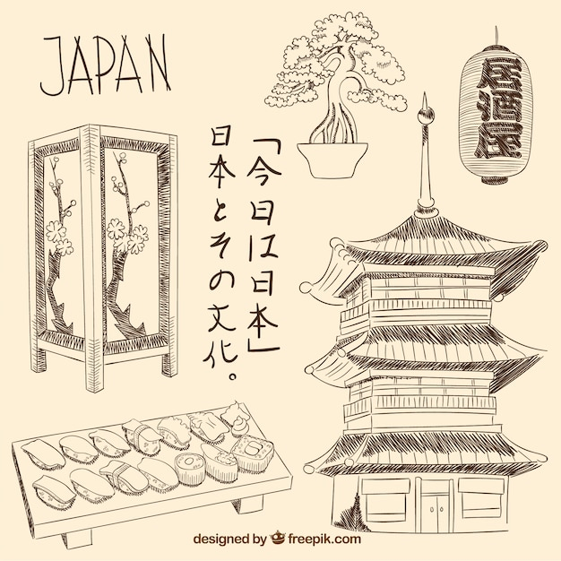 Hand drawn japanese elements Free Vector