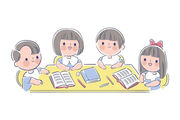 手描きの日本の子供たちの勉強 Premiumベクター