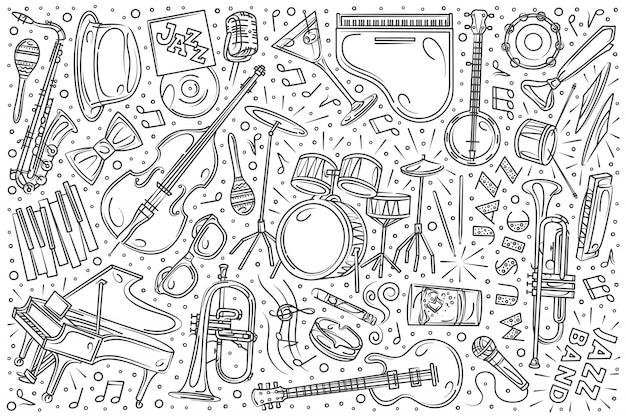 Hand drawn jazz festival set doodle Premium Vector