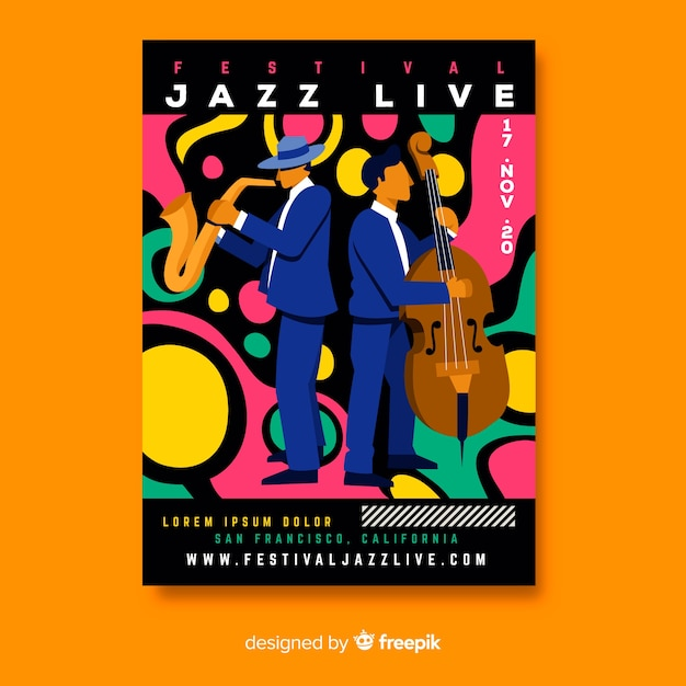 Hand-drawn jazz live music poster template Free Vector