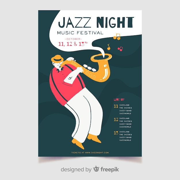 Hand-drawn jazz night music poster template Free Vector