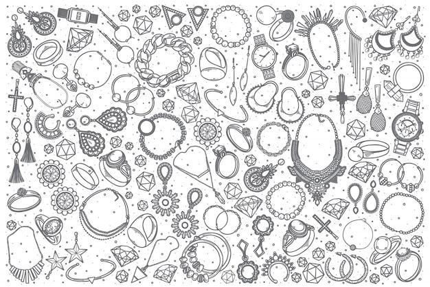 Hand drawn jewelry doodle set Premium Vector