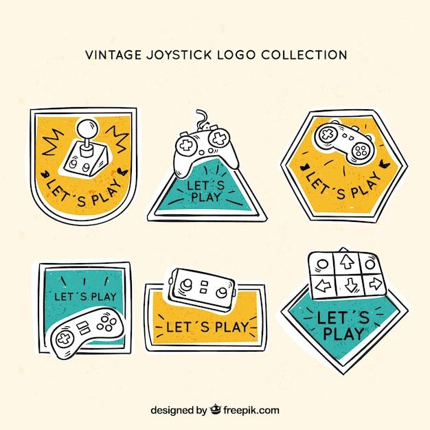 Рисованная коллекция логотипов джойстика с винтажным стилем Бесплатные векторы
