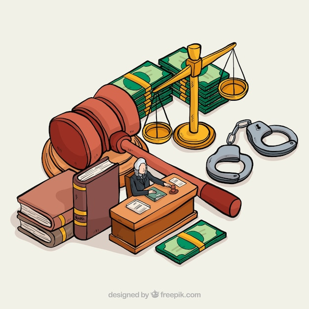Hand drawn justice elements with isometric view Free Vector
