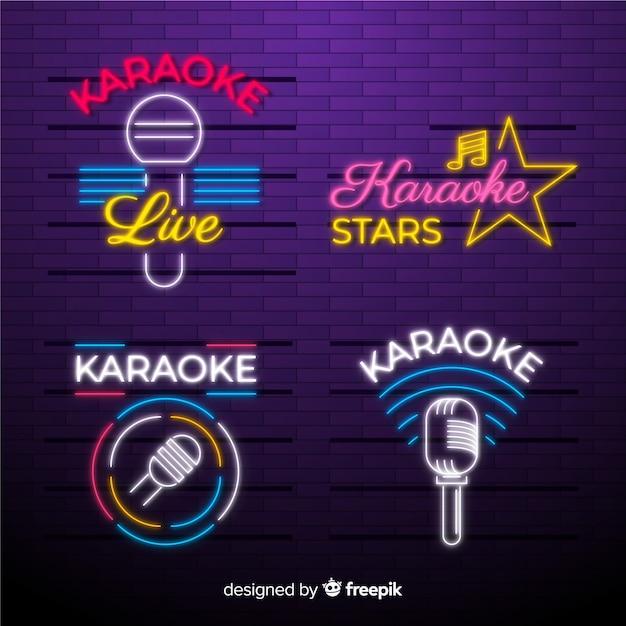 Hand drawn karaoke neon light collection Free Vector