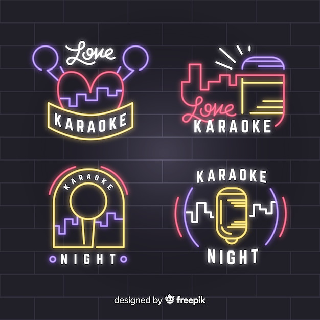 Hand drawn karaoke neon light collection Free Vector