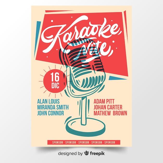 Hand drawn karaoke poster template Free Vector