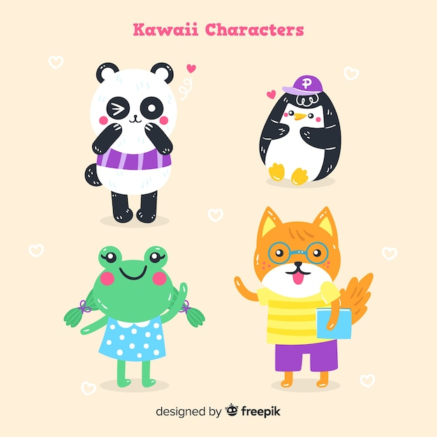 Hand drawn kawaii animal collection Free Vector