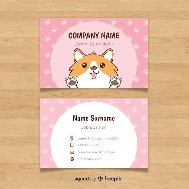 Hand drawn kawaii business card template Free Vector