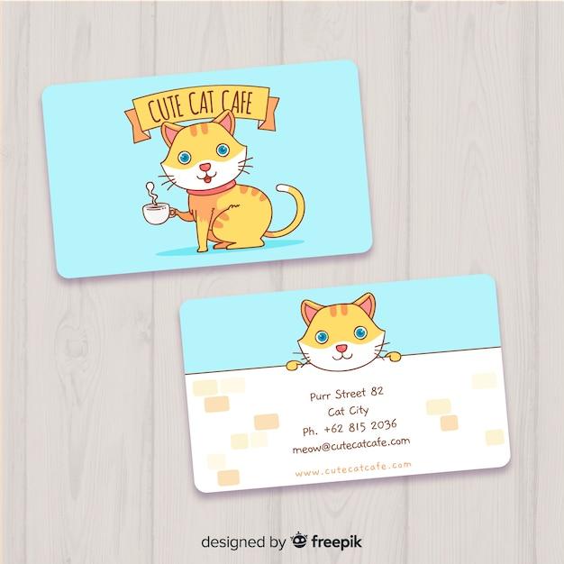 Ручной обращается каваи шаблон визитной карточки Бесплатные векторы
