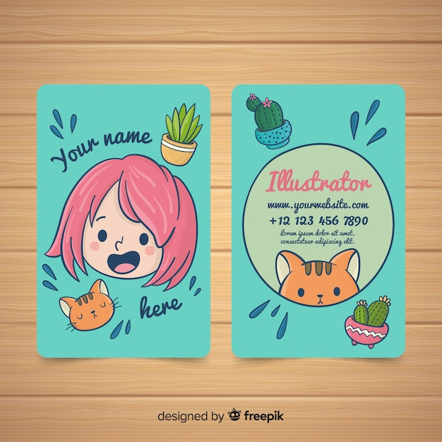 Hand drawn kawaii business card template Free Vector