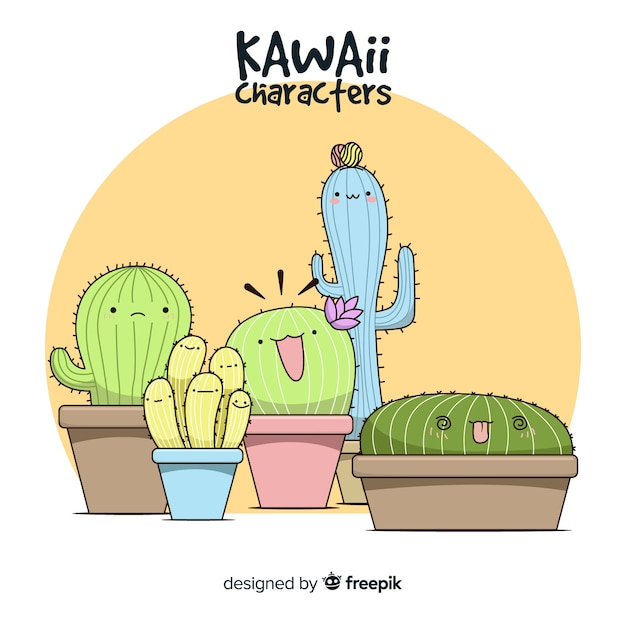 Hand drawn kawaii cactus background Free Vector