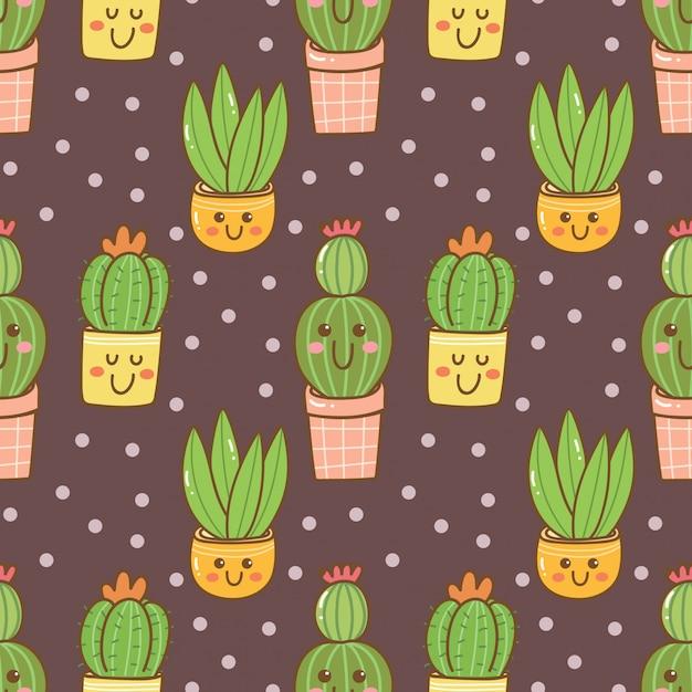 Hand drawn kawaii cactus seamless pattern Premium Vector