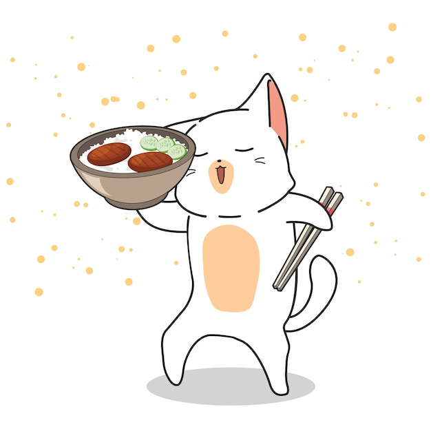 Hand drawn kawaii cat is holding a bowl of rice with meat Premium Vector