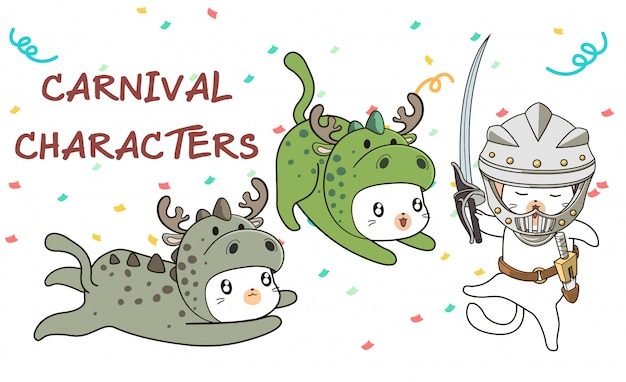 Hand drawn kawaii cats in carnival medieval style costume Premium Vector