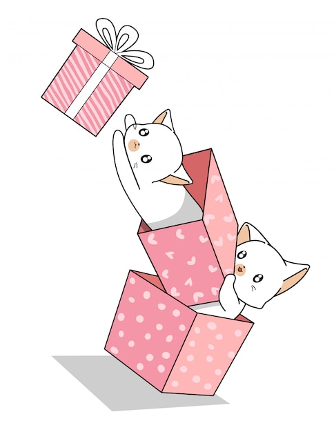 Hand drawn kawaii cats in the pink gift box Premium Vector