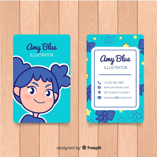 Hand drawn kawaii character business card template Free Vector