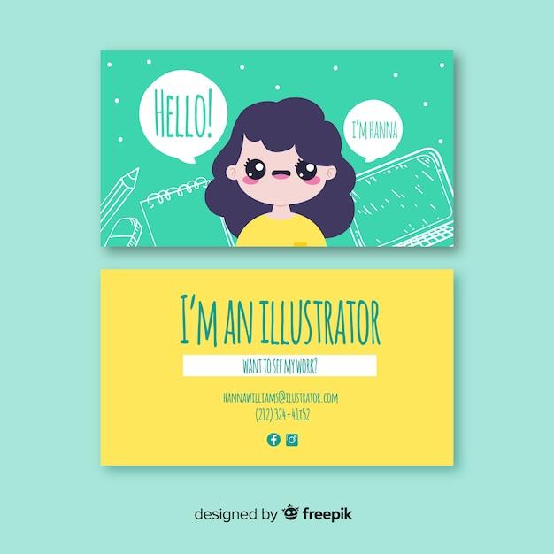 Hand drawn kawaii character business card template Free Vector