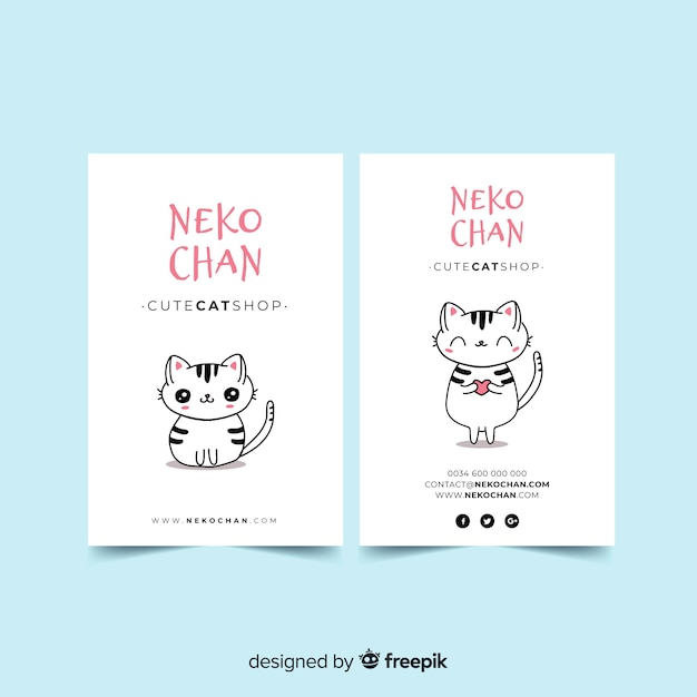Hand drawn kawaii character business card template Premium Vector