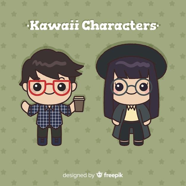 Hand drawn kawaii character collection Free Vector
