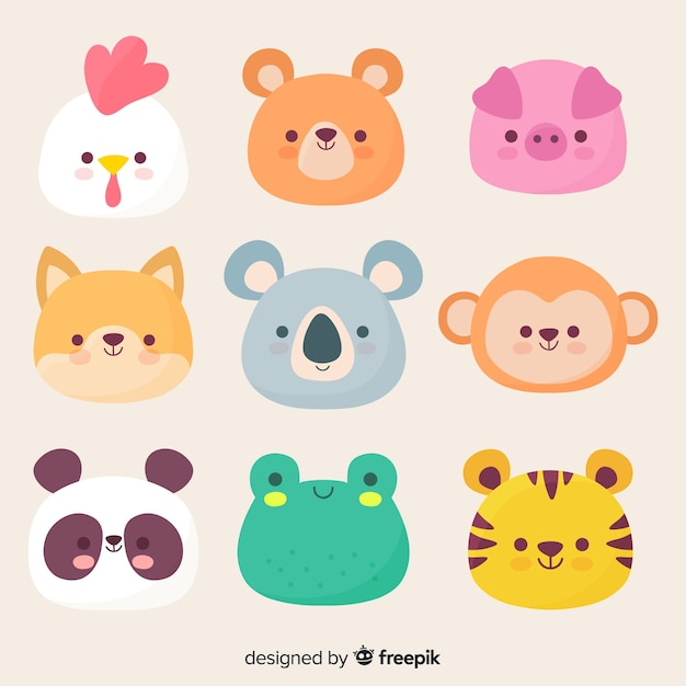 Hand drawn kawaii characters collection Premium Vector