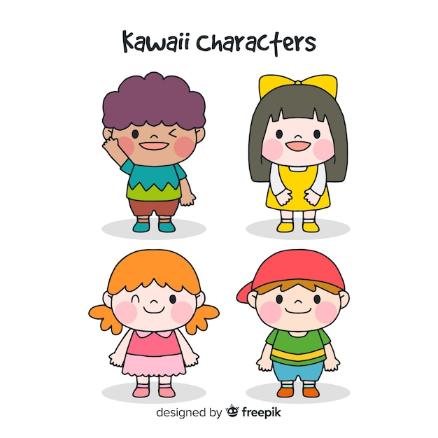 Hand drawn kawaii characters collection Free Vector