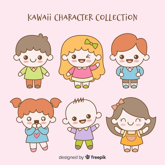 Hand drawn kawaii characters collection Free Vector