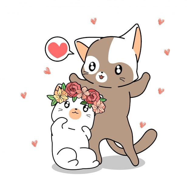 Hand drawn kawaii couple cat Premium Vector