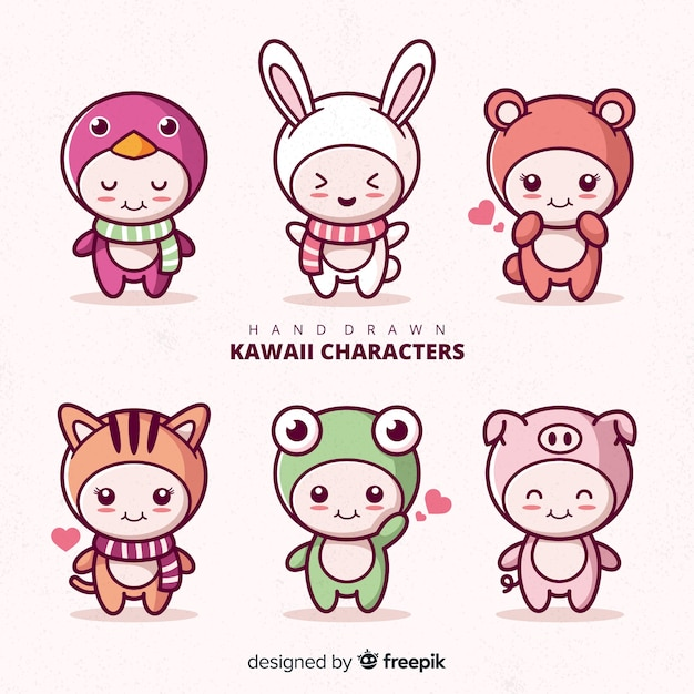 Hand drawn kawaii disguised characters collection Free Vector