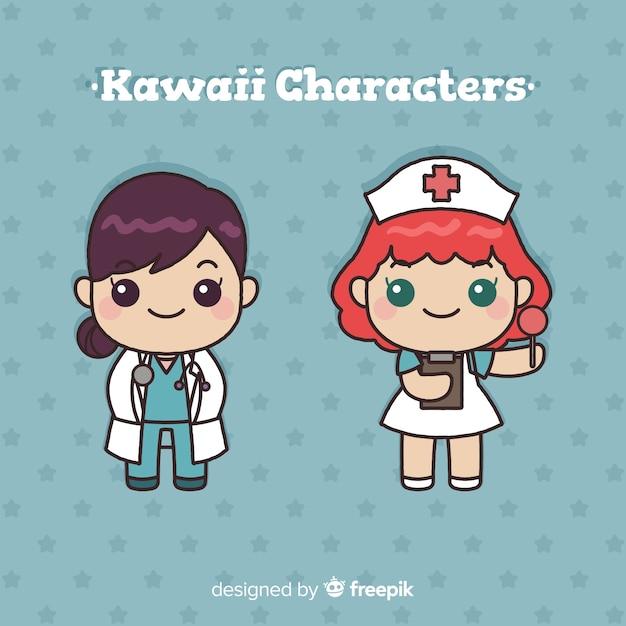 Hand drawn kawaii doctos collection Free Vector