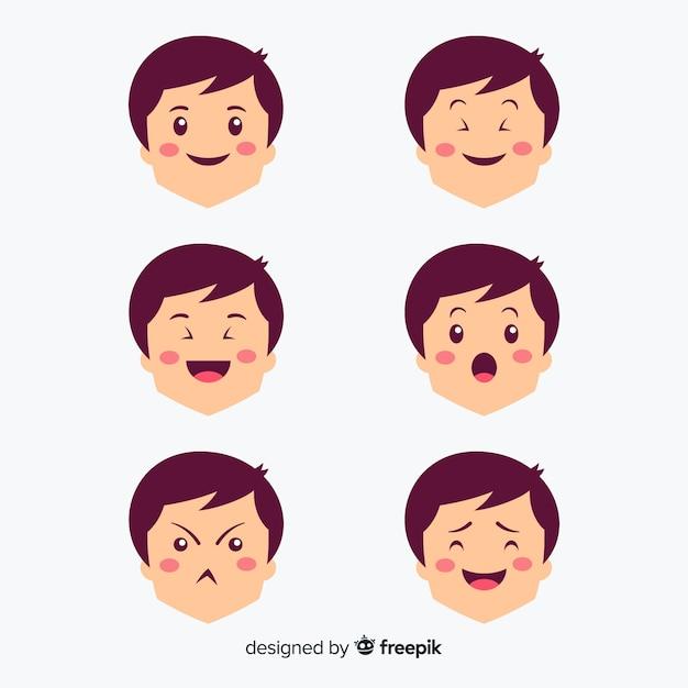 Hand drawn kawaii facial expression set Free Vector