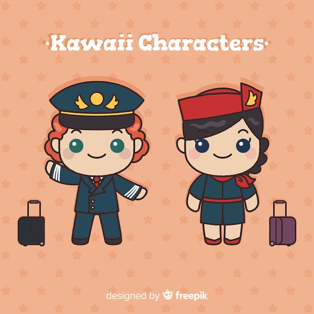Hand drawn kawaii flight attendant collection Free Vector